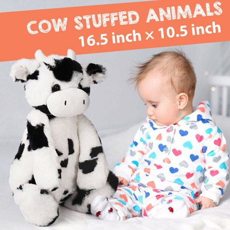 16.5 in Cute Cream Cow Stuffed Plush Animals, Soft Cuddly Cow Calf  Plush Toy , Black & White ,for Kids Boys - Cuddly Cow
