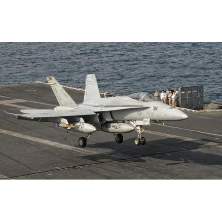 Persian Gulf October 30 2011   An Fa 18C Hornet Trap Landing Aboard Uss George Hw Bush Poster Print