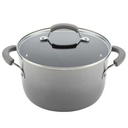 Rachael Ray 12-Piece Classic Brights Nonstick Pots and Pans Set/Cookware Set, Sea Salt Gray