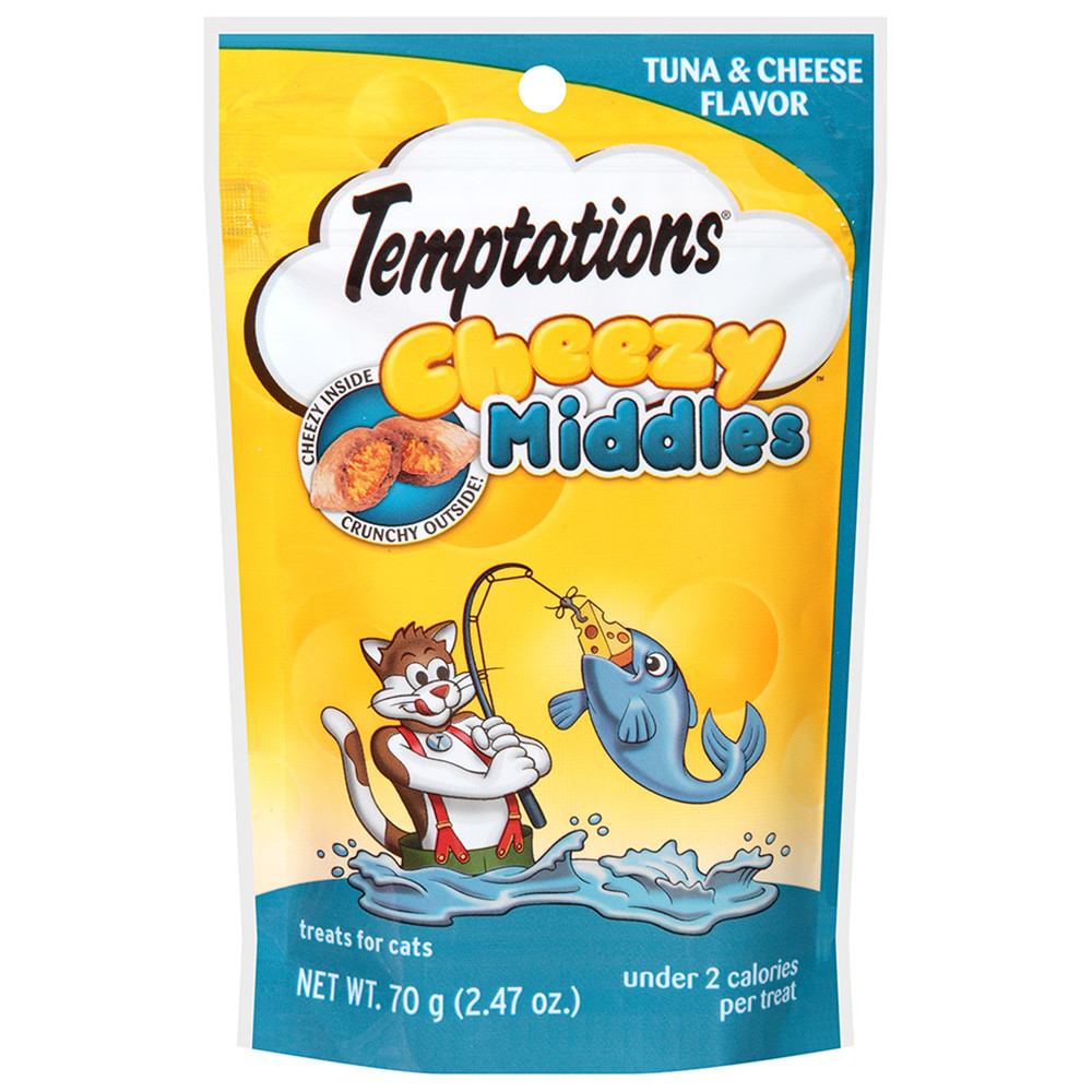 (4 Pack) TEMPTATIONS Cheezy Middles Cat Treats, Tuna and Cheese Flavor, 2.47 Oz