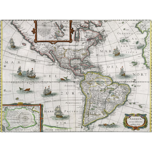 Trademark Art 'Map of the Americas, 1631' Canvas Art by Henricus Hondius