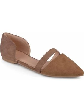 1e12b191f0ea1e Womens Pointed Toe Faux Suede Flats