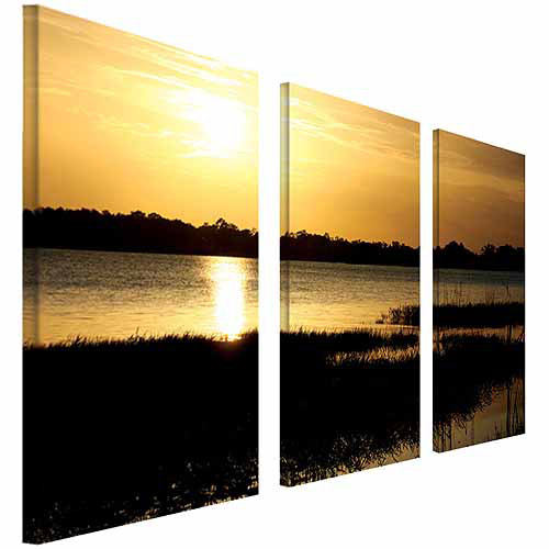 "Trademark Fine Art ""End of the Day"" Canvas Art by Patty Tuggle, 3-Piece Panel Set, 16x32"
