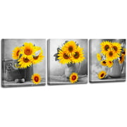 Wendana Canvas Wall Art for Living Room Bathroom Wall Decor for Bedroom Kitchen Artwork Canvas Prints Sunflower Flowers Painting 12x12inch x3pcs Modern Framed Office Home Decorations