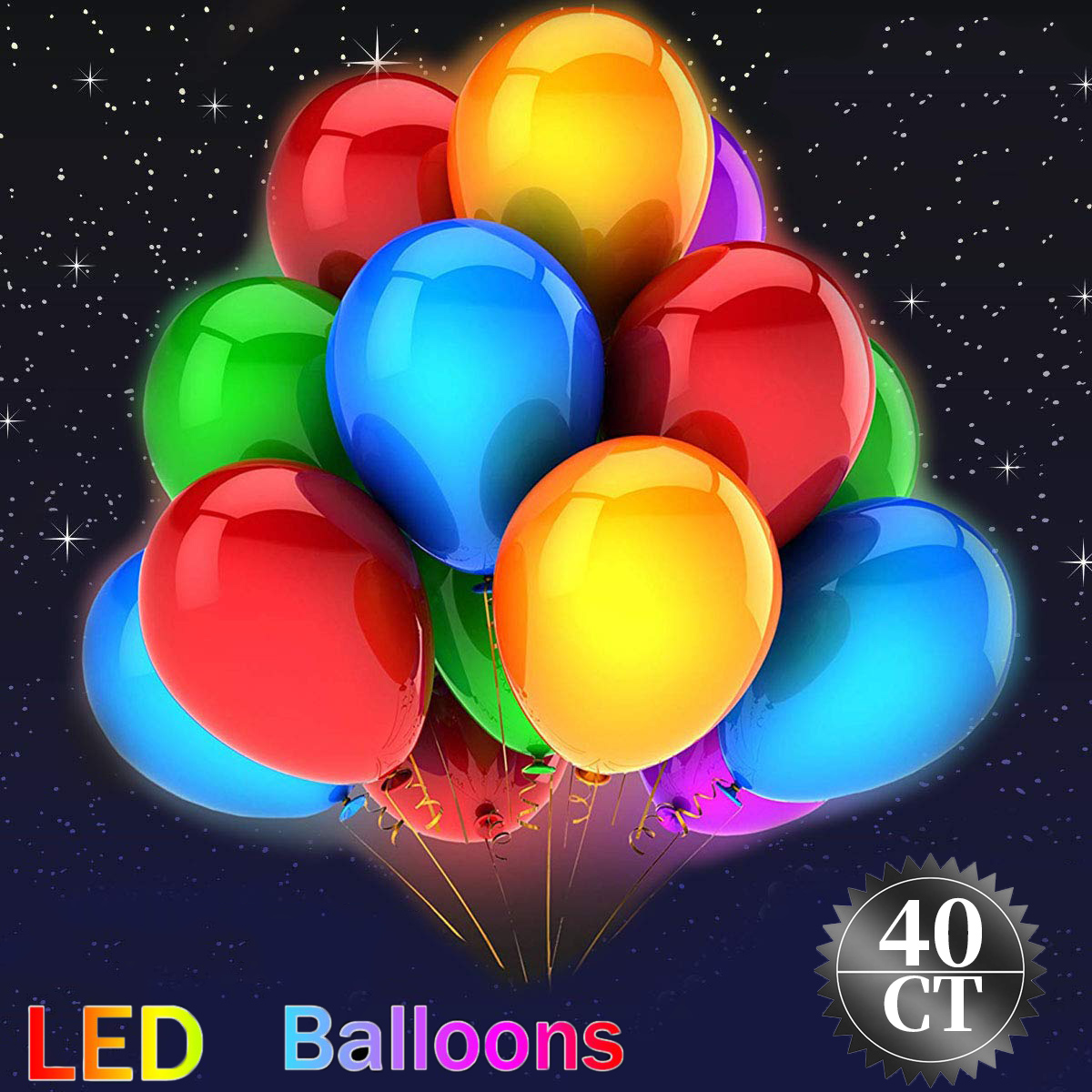 LED Light-Up Balloons 2019 Valentine's Day Party Lights Birthday Wedding Decorations Christmas Festival Club Bar Concert, Lasts 48 Hours, Assorted, 9in, 40ct