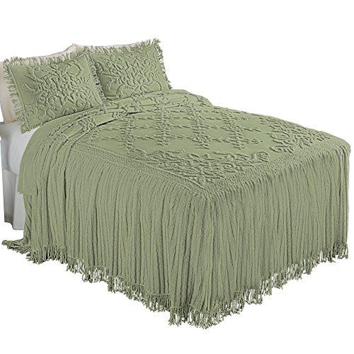 Cottage Charm Floral Lattice Chenille Bedspread Sage Full