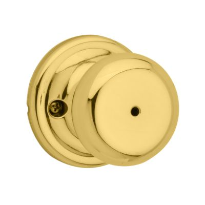 Kwikset Juno Bed/Bath Knob,Polished Brass, 97300-827