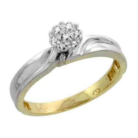 10k Yellow Gold Diamond Engagement Ring Women Cluster Set 0.05 cttw 1/8 inch 3.5mm wide Size 9