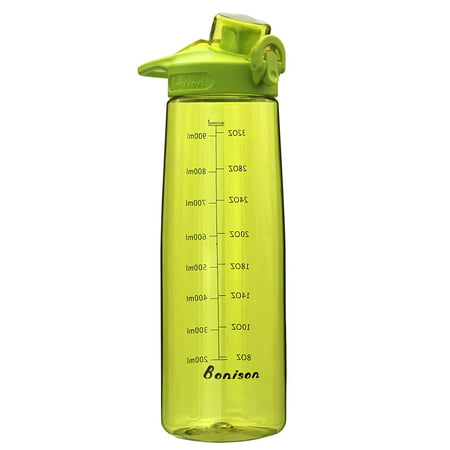 BONISON 36 OZ Sports Bottle Water With Flip Top Lid Leak Proof Bpa Free Drinking Water Bottle, for Travel Yoga Running Outdoor Cycling and Camping Green (Foogo Leak Proof)