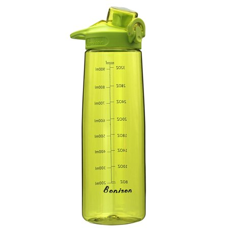 BONISON 36 OZ Sports Bottle Water With Flip Top Lid Leak Proof Bpa Free Drinking Water Bottle, for Travel Yoga Running Outdoor Cycling and Camping Green