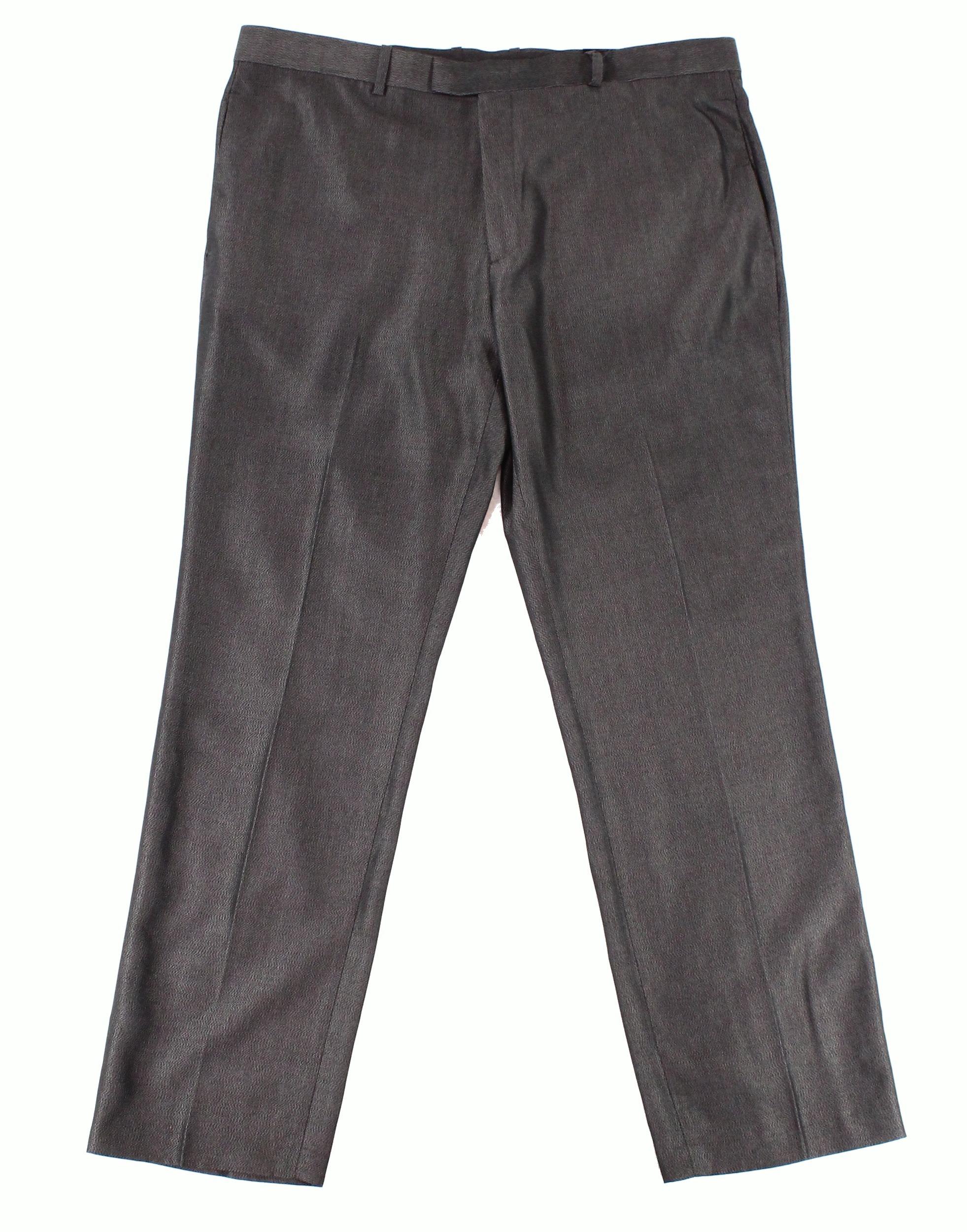 Alfani NEW Black Mens Size 40x32 Embossed Dress Flat Front Pants