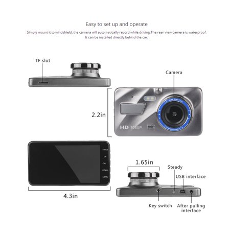"4"" HD 1080P Dual Lens Car DVR Camera Video Dash Cam Recorder Front and Rear Car Dashboard Support G-sensor 170 Degree - image 9 of 12"