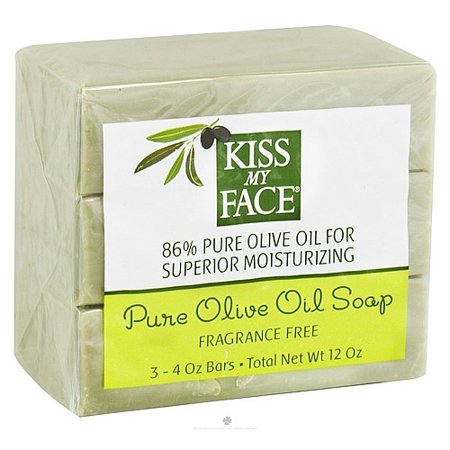 Kiss My Face Naked Pure Olive Oil Bar Soap, 4oz Bars, 3