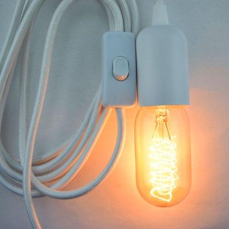 Fantado Modern Metal White Pendant Light Lamp Cord W Braided Cloth Switch 11 Ft By Paperlantern