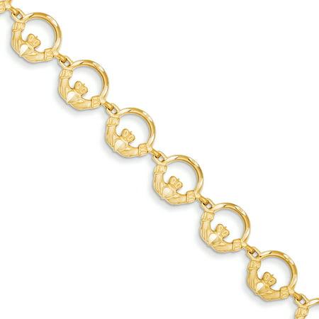 14k Yellow Gold 7in Claddagh Bracelet (Chain Claddagh Bracelet)
