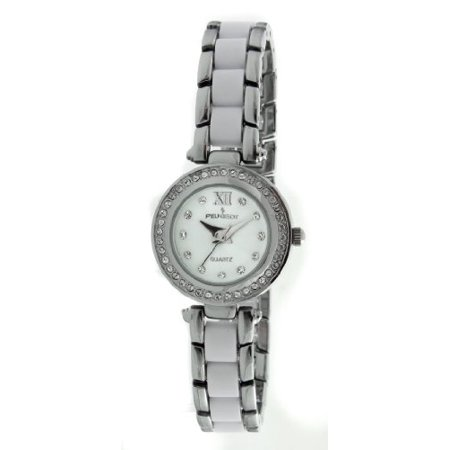 Women's 7073WT Acrylic Link Crystal Accented Silver-tone White Watch