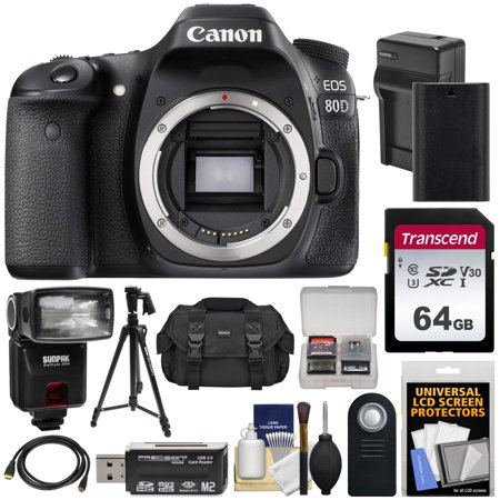 Canon EOS 80D Wi-Fi Digital SLR Camera Body with 64GB Card + Battery +  Charger + Case + Flash + Tripod + Kit