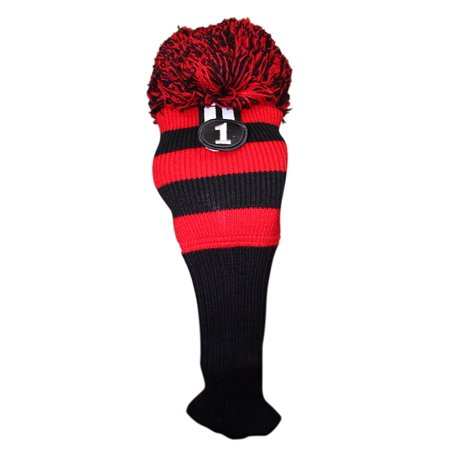 Majek Golf Club #1 Red Black Limited Edition Driver Head Cover Fits 460cc Drivers Tour Knit Retro Vintage Pom Pom Classic Long Neck Headcover