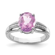 Primal Silver Sterling Silver Rhodium Diamond and Pink Quartz Ring