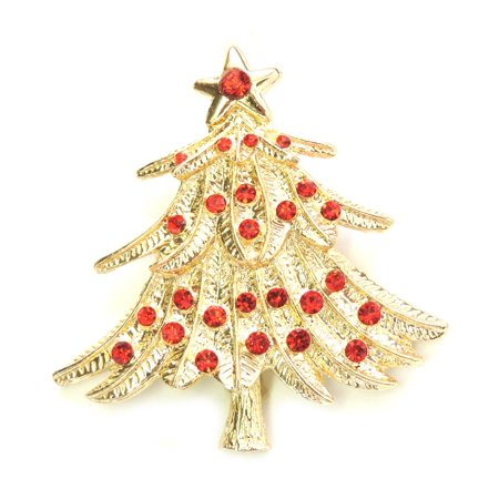 Faship Red Gold Plated Rhinestone Crystal Christmas Tree Pin Brooch