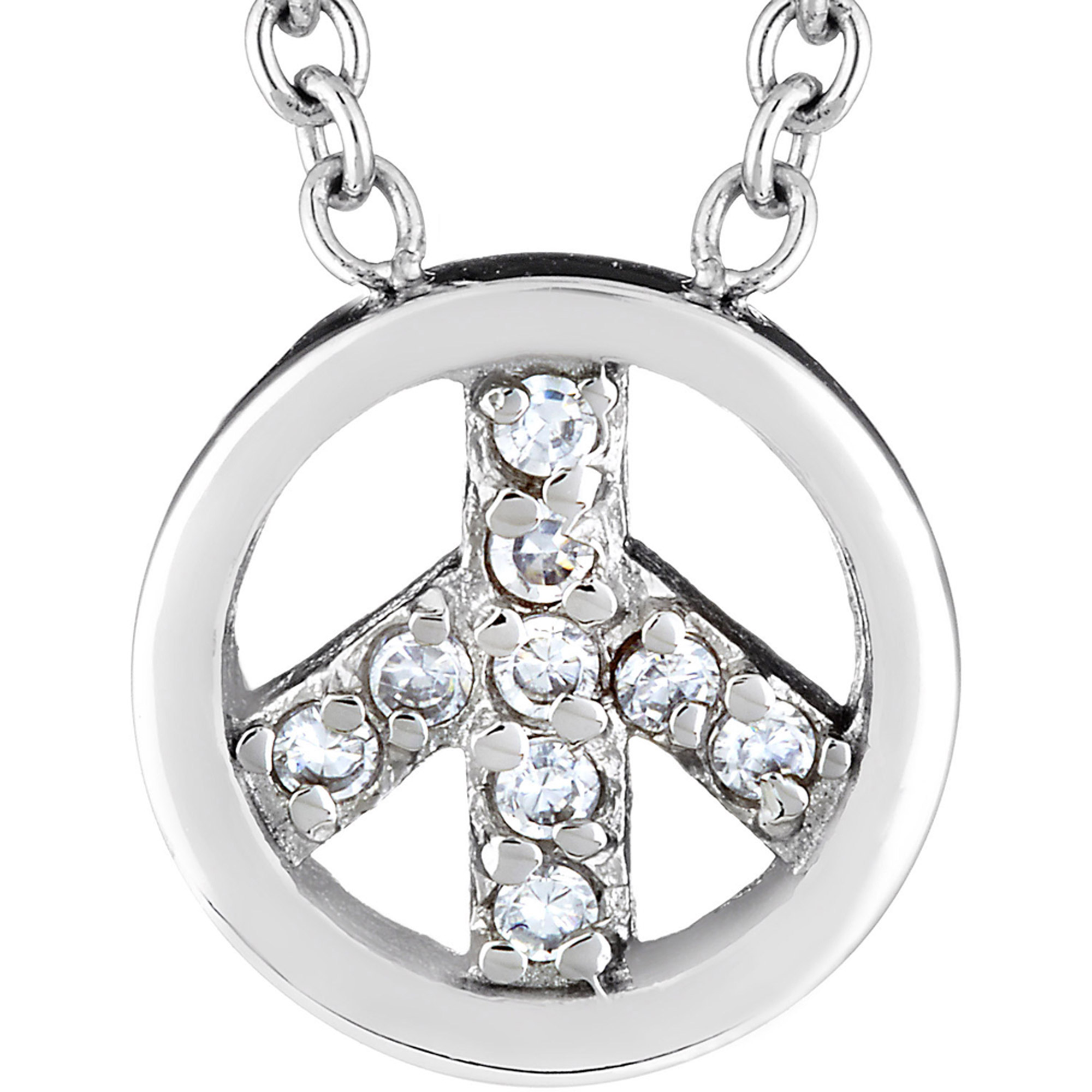 ELYA CZ Stainless Steel Peace Charm Necklace