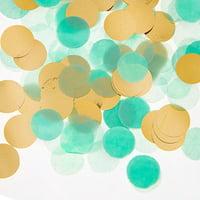 Darice Mint Green & Gold Tissue Paper Confetti Mix, 0.9oz
