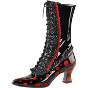 Womens Black Costume Boots Red Polka Dots Halloween Witch Boots 2 3/4 In Heel