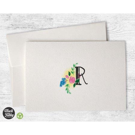 Monogrammed Cards (Floral Monogram (Letter R) - Stationery)