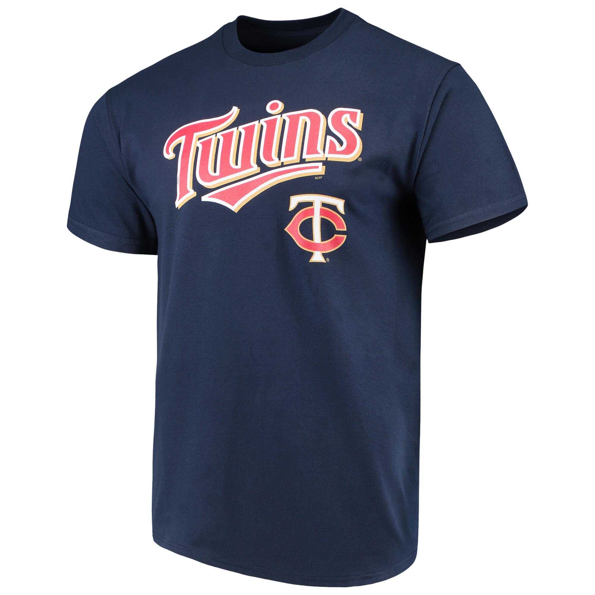 Men's Majestic Navy Minnesota Twins Bigger Series Sweep T-Shirt