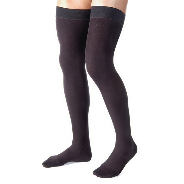 Men's 30-40 mmHg Closed Toe Thigh High Support Sock Size: X-Large, Color: Black