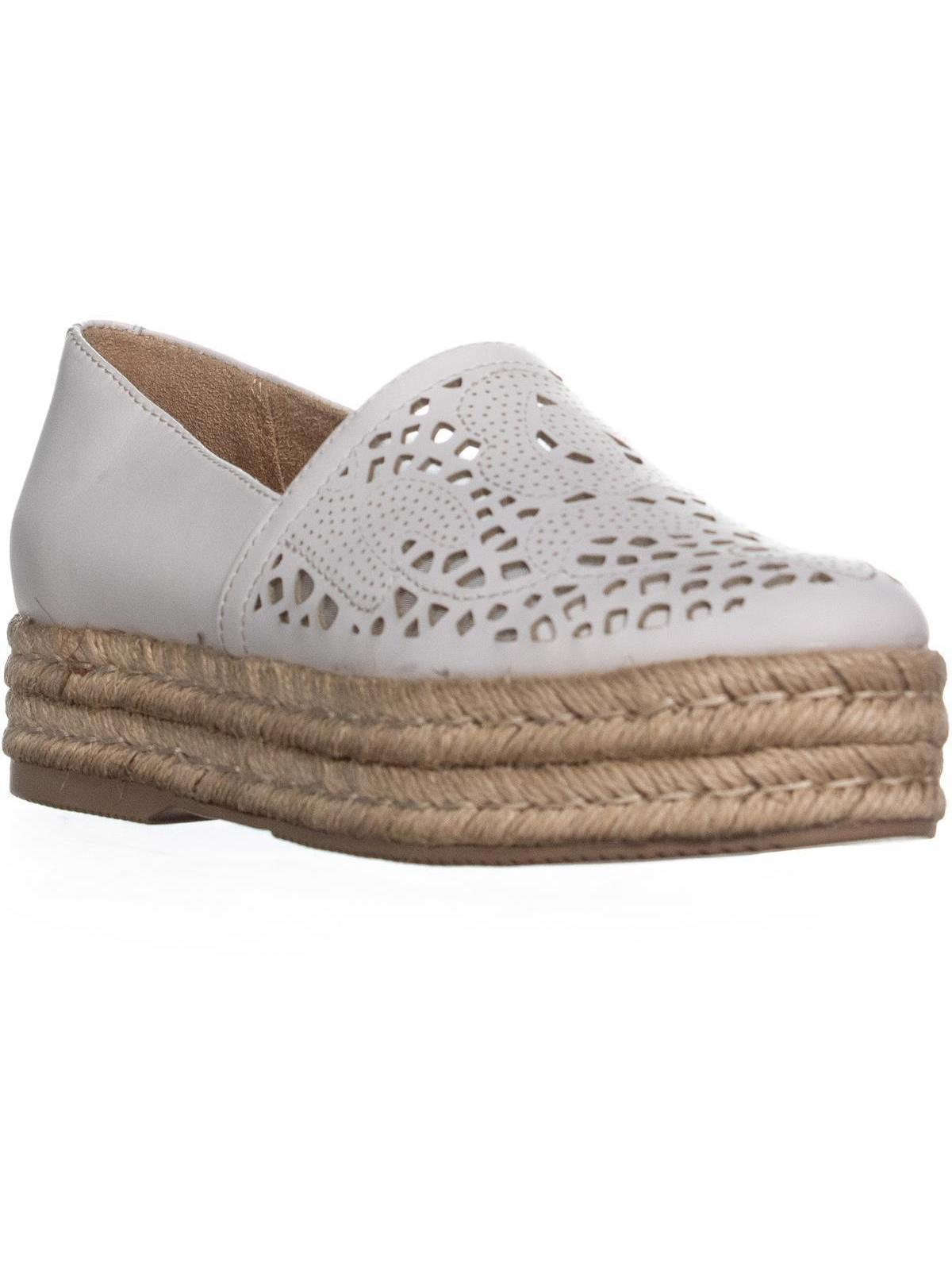 Womens naturalizer Thea Perforated Platform Espadrilles, White Leather