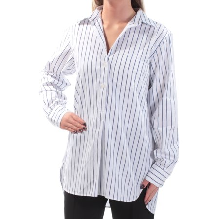 Stripe Cuff Shirt - Ralph Lauren Womens White Striped Cuffed Collared Button Up Top  Size: XS