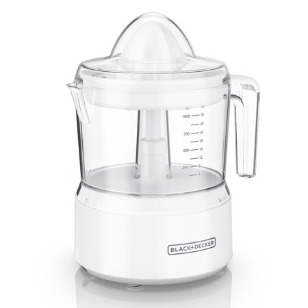 BLACK+DECKER 32oz Citrus Juicer with Self-reversing Cone, White,