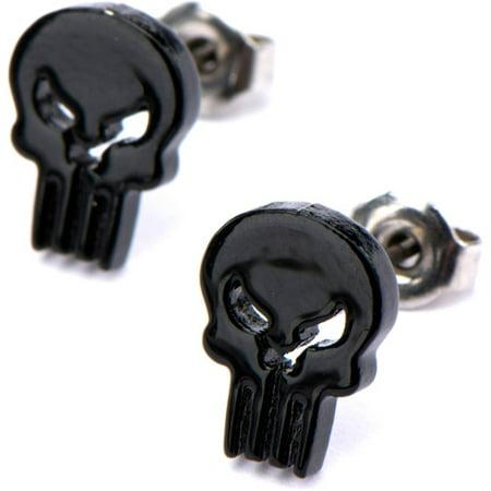 Steel Black Skull Stud (Skull Head Earrings)