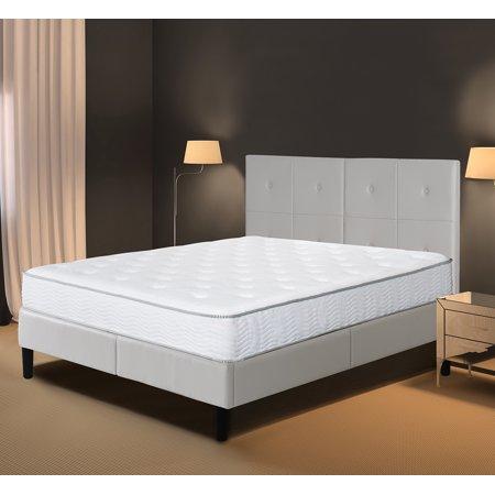 Granrest Faux Upholstered Faux Leather Platform Bed Frame Light
