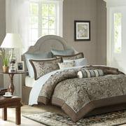 12-Piece Luxury Comforter Set in Blue Jacquard, Full