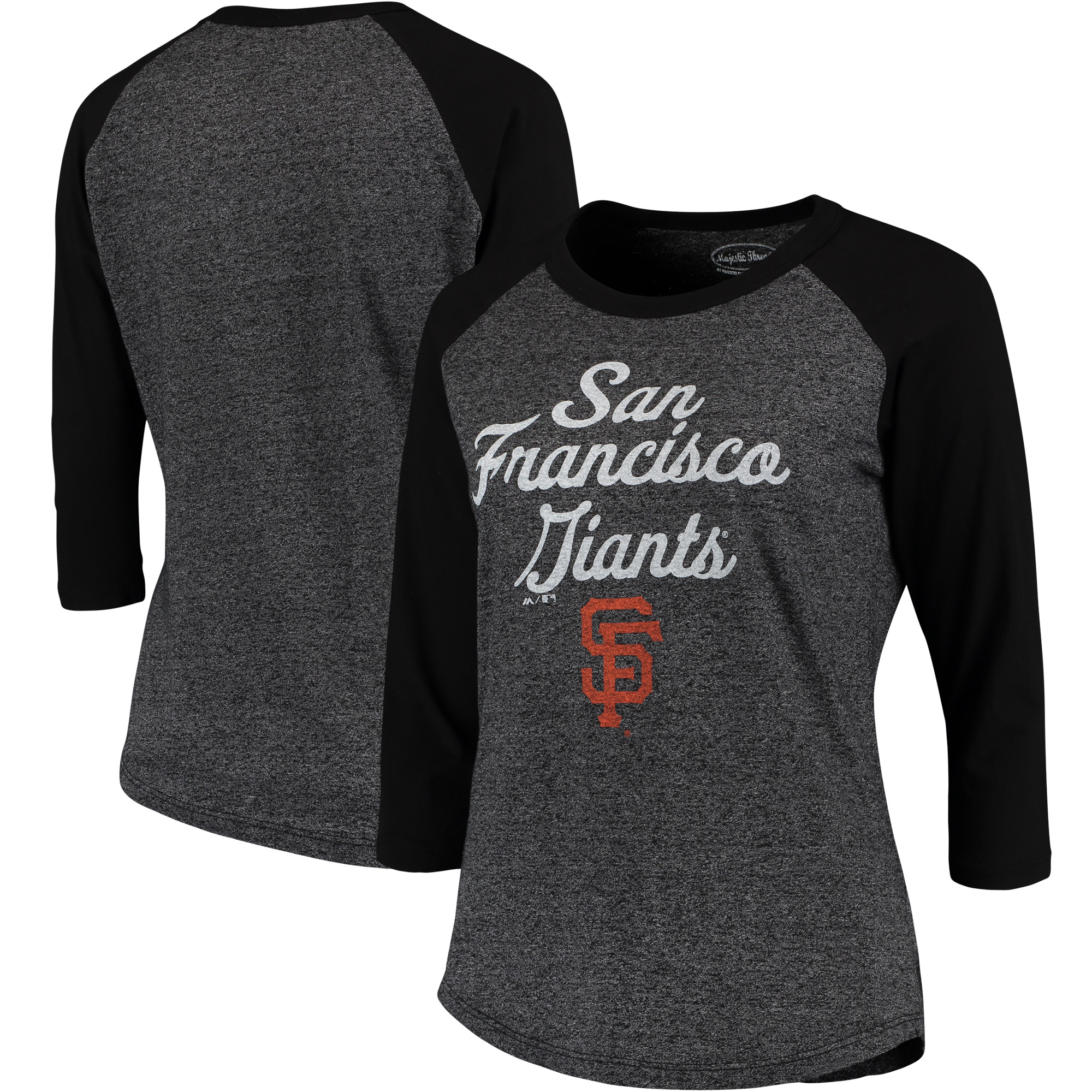 Women's Majestic Threads Black San Francisco Giants 3/4-Sleeve Raglan T-Shirt