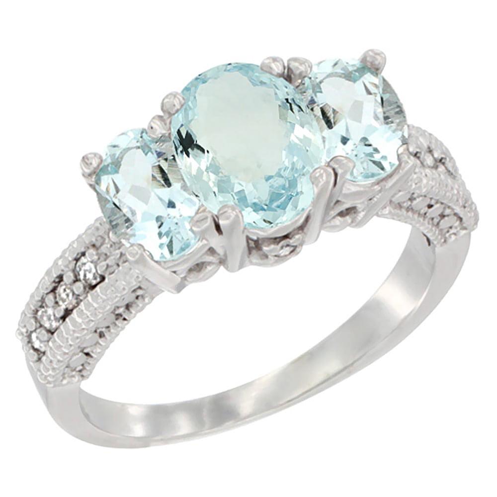 10K White Gold Diamond Natural Aquamarine Ring Oval 3-stone with Aquamarine, sizes 5 10 by WorldJewels