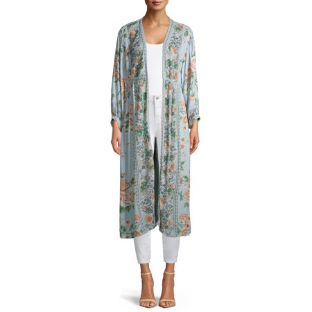 Angie Juniors' Floral Open Front Kimono