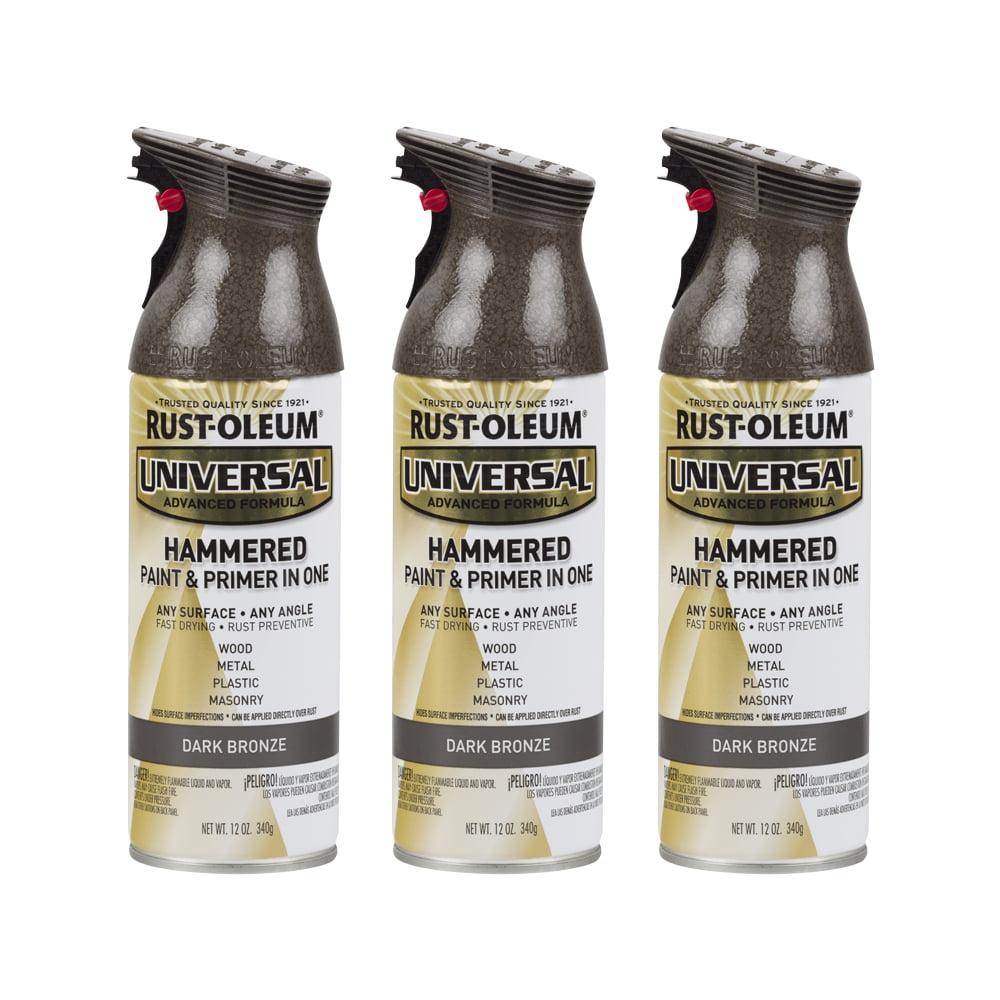 3 Pack Rust Oleum Universal All Surface Hammered Dark Bronze Spray Paint And Primer In 1 12 Oz Walmart Com Walmart Com