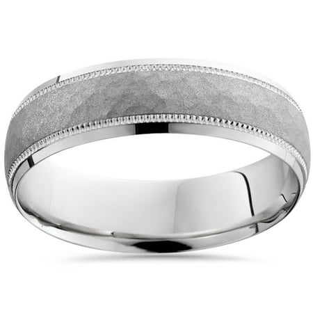 c292a34364df7 Mens White Gold Hammered Wedding Ring Comfort Band New
