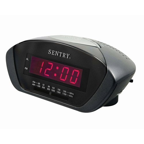 Sentry Digital LED AM/FM Clock Radio, Black