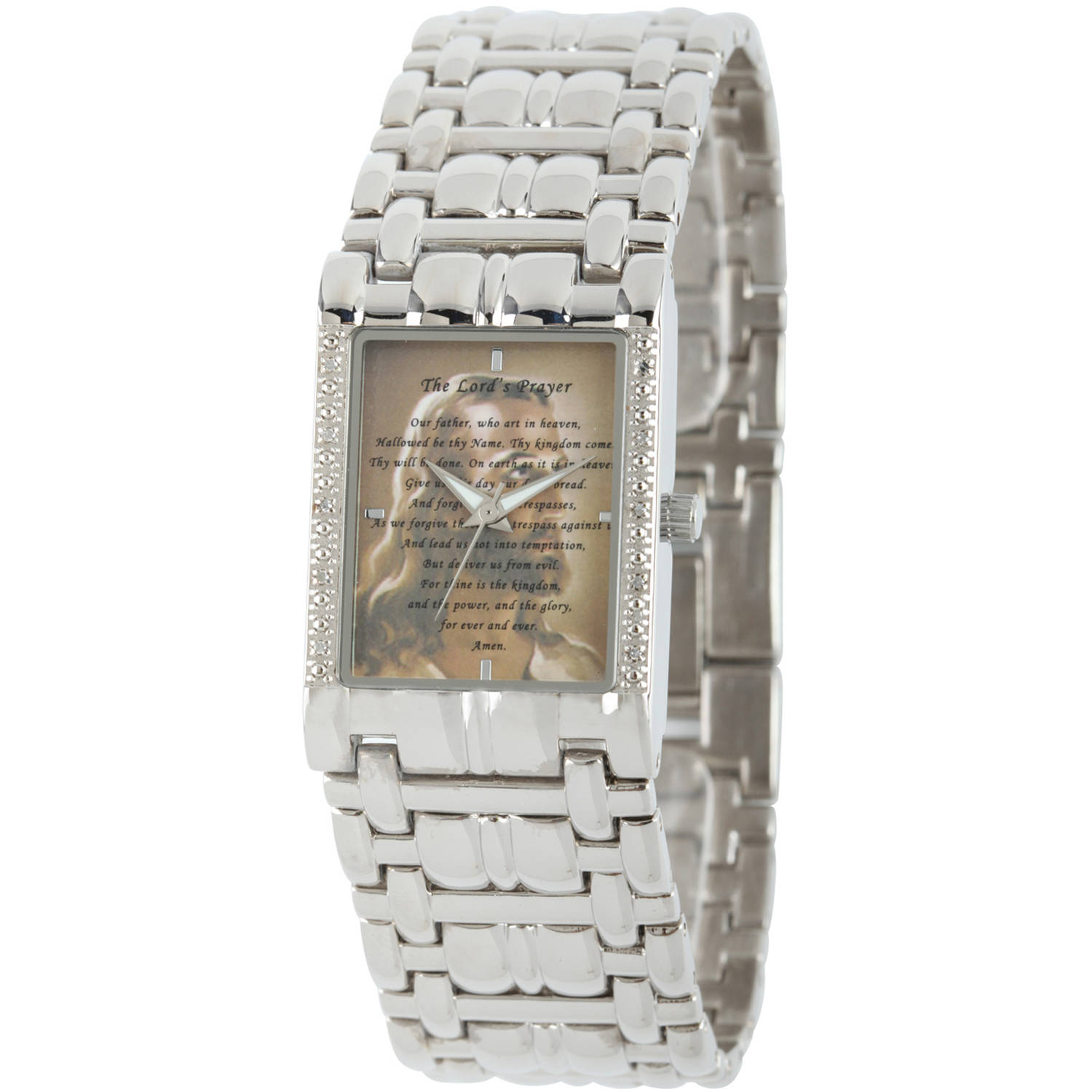 Men's Our Father/Jesus Rectangular Bracelet Watch, Silver