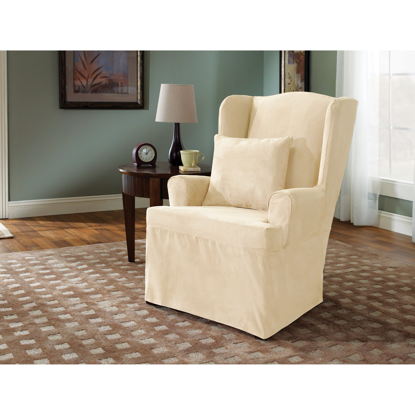 Sure Fit Soft Suede Piece Wing Chair Slipcover, Cream