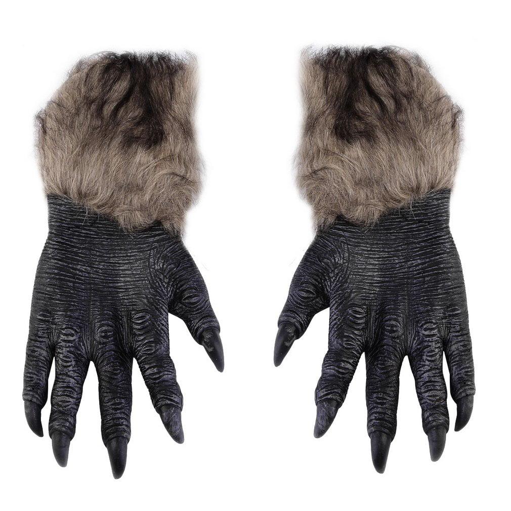 cnmodle halloween werewolf gloves latex furry animal hand gloves halloween prop