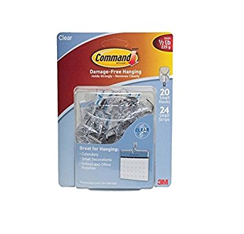 Command Small Wire Hooks, Clear Plastic (20 Hooks, 24 Adhesive Strips)
