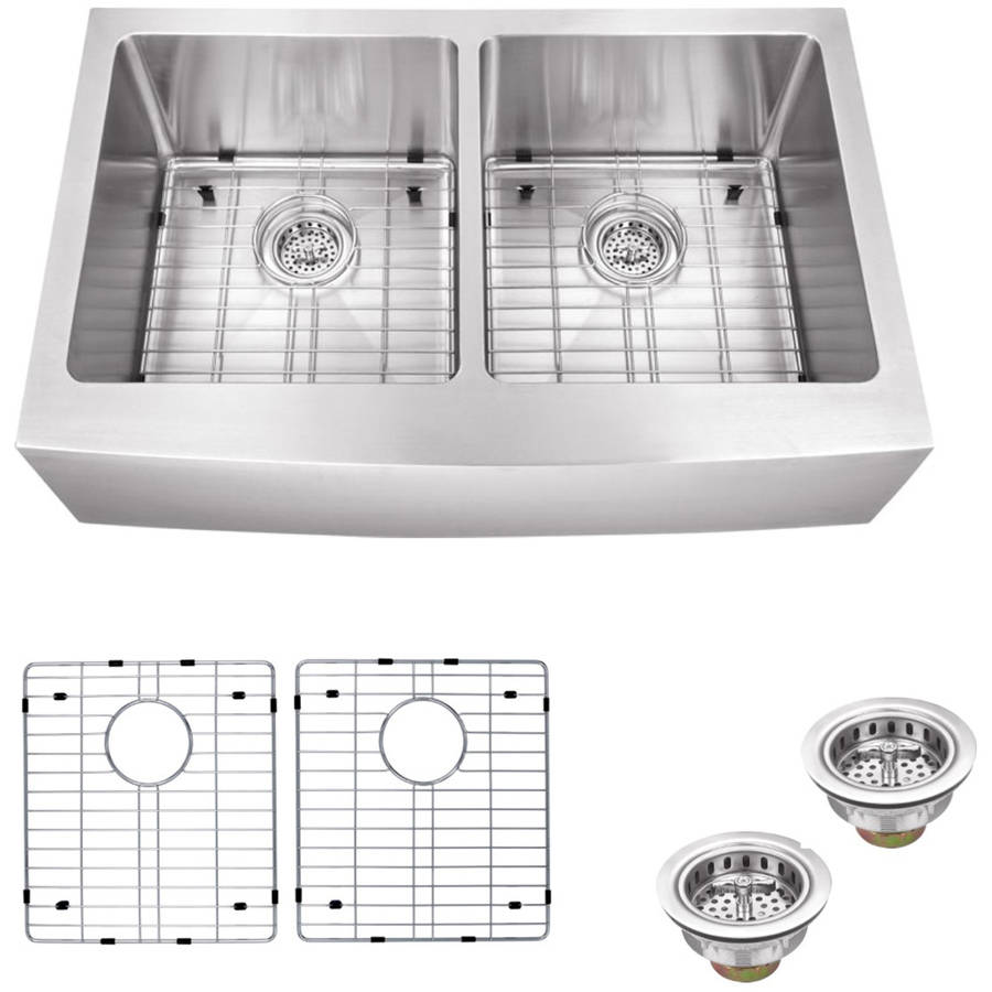 Magnus Sinks 33 In X 20 In Stainless Steel Double Bowl Apron Front  Farmhouse Kitchen Sink With Grid Set And Drain Assemblies