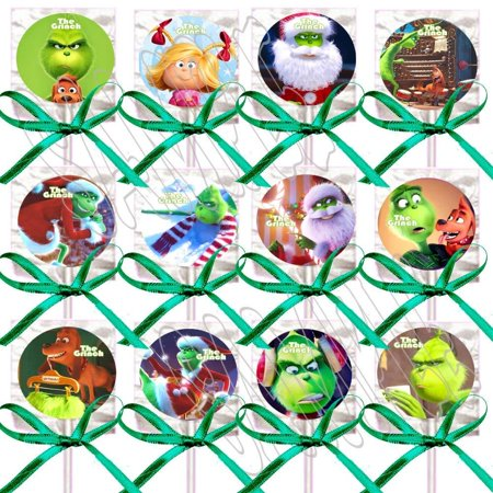 The Grinch Lollipops Dr. Seuss Movie Party Favors Decorations 12 - Lollipops w/Green Ribbon Bows Party Favors, Who Stole Christmas, Whoville, Dog Max, Cindy Lou Who - Dr Seuss Bow