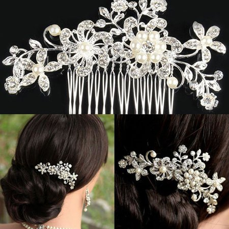 Outtop Bridal Wedding Crystal Hair Accessories Clips comb Pearls pins Grip - Diamante Clip