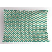 Chevron Pillow Sham Zigzag Stripes Pattern Angular Design Retro Design Inspirations, Decorative Standard King Size Printed Pillowcase, 36 X 20 Inches, Pale Sage Green Teal and Beige, by Ambesonne